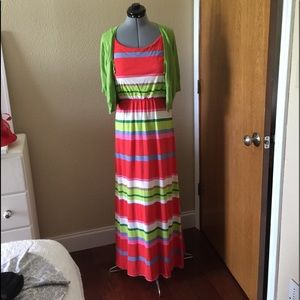 Fruity Colored Striped Summer Dress